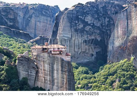 Famoous Meteora monasteries placed on top of the mountains in Greece Europe