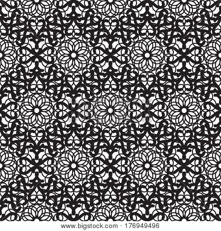 Mandala lace dense black seamless vector pattern. Abstract openwork surface background.