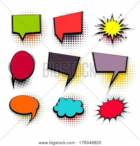 Comic funny collection empty colored square cloud pop art vector style. Big set colorful message bubble speech for comic cartoon expression illustration. Comics book background template.