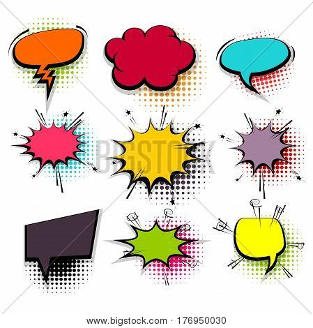 Colored comic funny collection empty cloud pop art style vector. Big set colorful message bubble speech for comic cartoon expression illustration. Comics book background template.