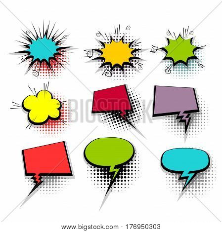 Colorful comic funny collection empty colored cloud pop art vector style. Big set message bubble speech for comic cartoon expression illustration. Comics book background template.