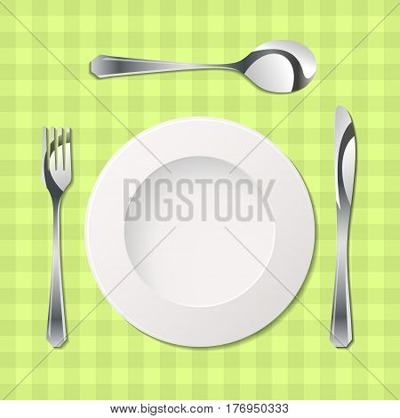 Silhouette of knife, fork, spoon and plate with gradients