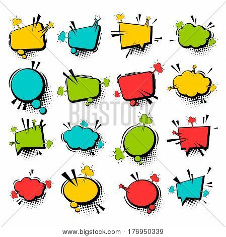 Comic funny collection empty colored cloud pop art vector style. Big set colorful message bubble speech for comic cartoon expression illustration. Comics book background template.