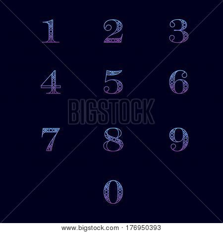 Decorative numbers with abstract frame isolated on black background