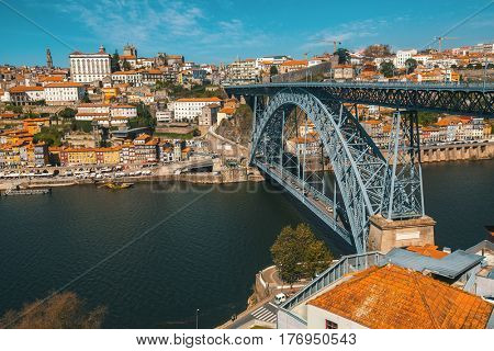 Dom Luis iron Bridge at Duoro river in old downtown Porto, Portugal.