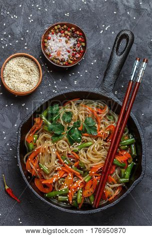 Spicy Rice (potato) Noodles With Vegetables - Carrots, Bell Peppers, Green Beans, Ginger, And Sesame