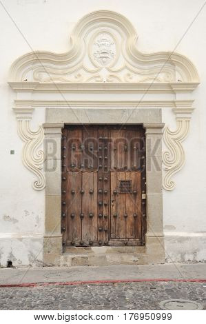 Antigua, Guatemala - 3 February 2014: Entrance door at Antigua on Guatemala