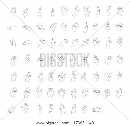 Hand Drawn Sketch of Assorted Hand Signs Gestures or Body Language Set Isolated on White Background.