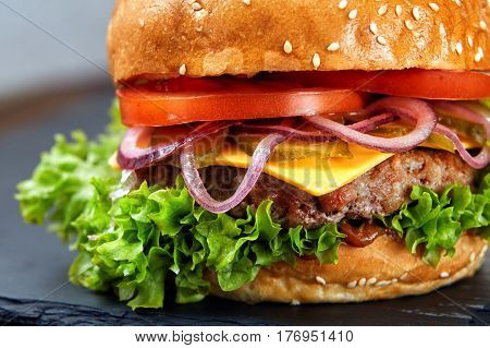 Classic hamburger macro with black background and selective focus. Hamburger with grilled meat, tomato, onion and salat. Appetizing and tasty. DElicious food. Fastfood.