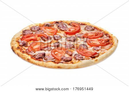 Tasty, flavorful pizza with tomatoes, cheese, onions and sausage isolated on white background. Appetizing and tasty. Delicios. Food and baker. Pizzeria. Only cooked.
