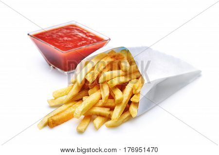 Fried Potato with tomato isolated on white background. Fastfood. Fresh potato. Delicious and tasty. Appetizing food. Copyspace. Fried foods.