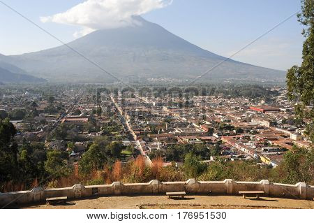 Overview At The Colonial Downtown Of Antigua And Vulcano Agua