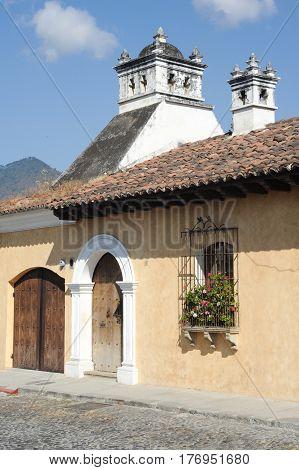 Antigua, Guatemala - 2 February 2014: Colonial house at Antigua on Guatemala