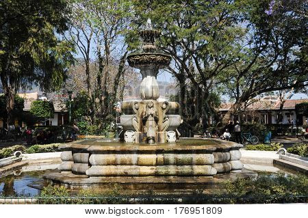 Antigua, Guatemala - 2 February 2014: The fountain of central park at Antigua on Guatemala