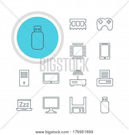 Vector Illustration Of 12 Notebook Icons. Editable Pack Of Screen, Memory Chip, Microprocessor And Other Elements.