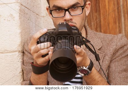 A photographer takes pictures (Creativity work freelance concept)