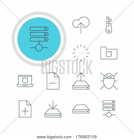Vector Illustration Of 12 Internet Icons. Editable Pack Of Cloud Download, Privacy Doc, Hdd Sync And Other Elements.