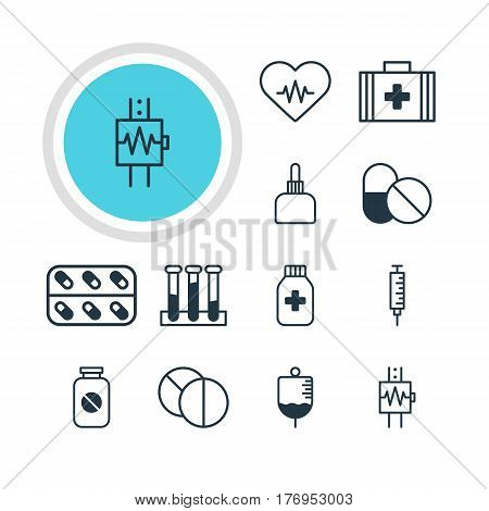 Vector Illustration Of 12 Health Icons. Editable Pack Of Vaccinator, Experiment Flask, Round Tablet And Other Elements.