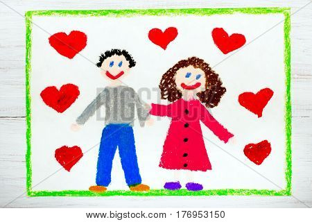 Colorful drawing - happy couple in love