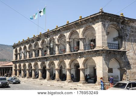 Antigua, Guatemala - 3 February 2014: the city hall of Antigua on Guatemala