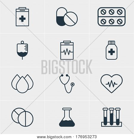 Vector Illustration Of 12 Medicine Icons. Editable Pack Of Round Tablet, Heart Rhythm, Antibiotic And Other Elements.