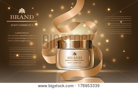 Cosmetics beauty body series ads of premium collagen oil cream for skin care and ribbon template for design poster placard product presentation banners cover vector illustration.