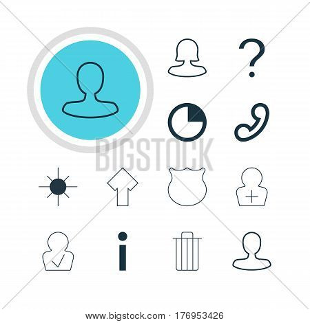 Vector Illustration Of 12 Member Icons. Editable Pack Of Guard, Garbage, Handset Elements.