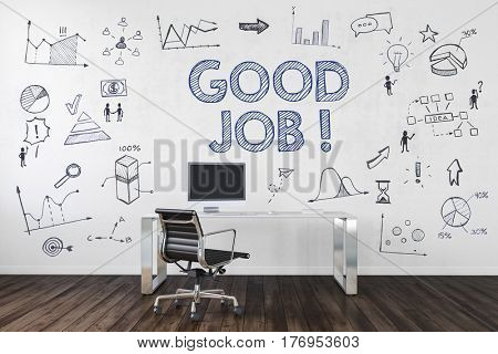 GOOD JOB | Desk in an office with various business symbols and icons. 3d Rendering.