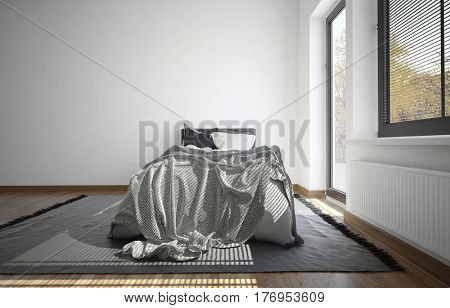 Minimalist bedroom with messy bed with untidy bedclothes alongside a large window. 3d rendering.