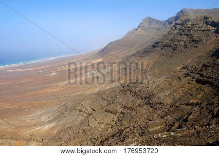 Aerial view on the beach Cofete and Villa Winter. Canary Island Fuerteventura, Spain.
