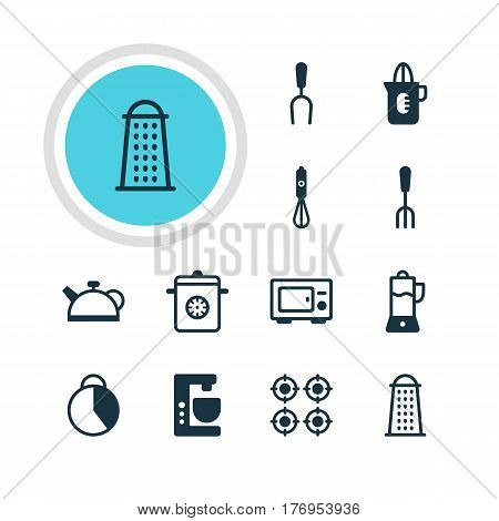 Vector Illustration Of 12 Kitchenware Icons. Editable Pack Of Oven, Timekeeper, Fruit Squeezer And Other Elements.