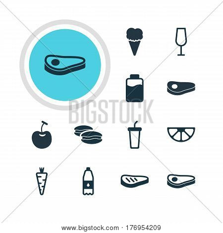 Vector Illustration Of 12 Dish Icons. Editable Pack Of Berry Type, Sundae, Soft Drink And Other Elements.