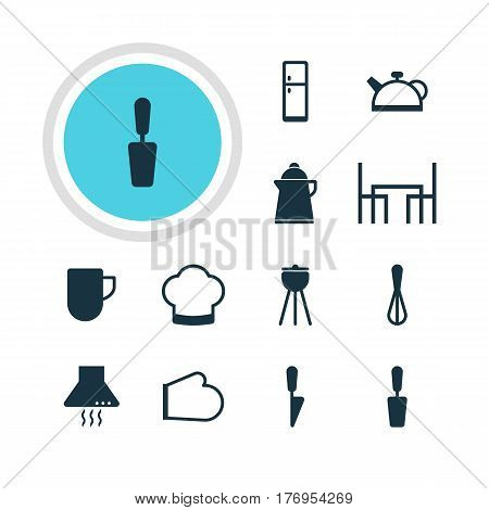 Vector Illustration Of 12 Restaurant Icons. Editable Pack Of Dinner Table, Oven Mitts, Extractor Appliance And Other Elements.