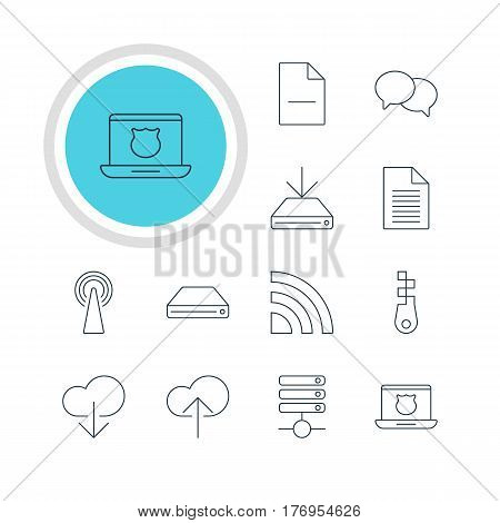 Vector Illustration Of 12 Internet Icons. Editable Pack Of Cloud Download, Wireless Network, Secure Laptop And Other Elements.