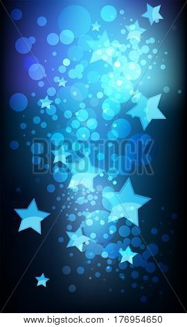 Abstract stars and confetti on blue background