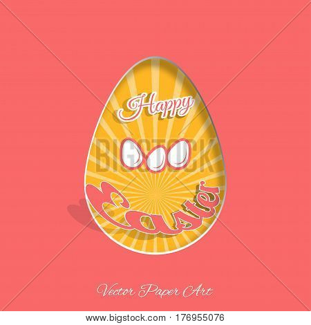 Vector poster of Happy Easter on the pink background with dangling silhouette of an egg ray and text cut from paper.