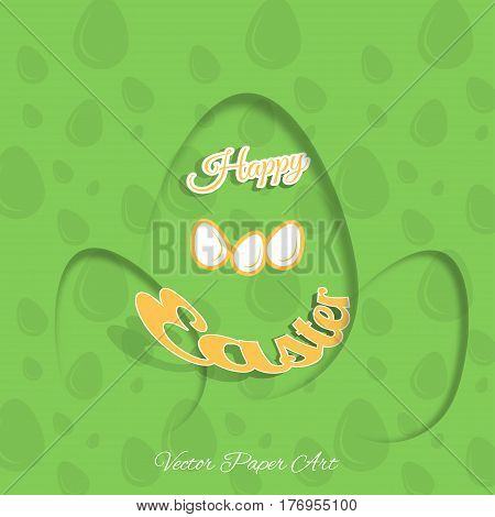 Vector poster of Happy Easter on the gradient green background with dangling silhouette of an egg pattern and text cut from paper.