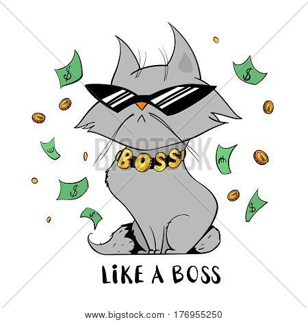 Funny cat in glasses isolated on white background. Funny cat under money rain. Boss cat in a cartoon style. Vector illustration.