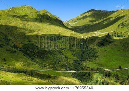 Amazing mountain view in the austrian alps. Zillertal High Road. Austria Tirol Zillertaler Hoehenstrasse