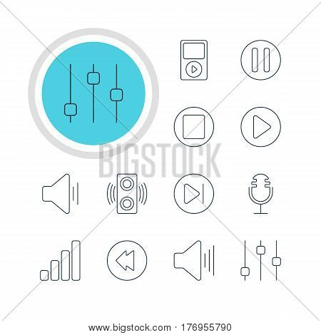 Vector Illustration Of 12 Melody Icons. Editable Pack Of Subsequent, Volume Up, Lag And Other Elements.