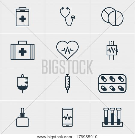 Vector Illustration Of 12 Medical Icons. Editable Pack Of Heartbeat, Vaccinator, Antibody And Other Elements.