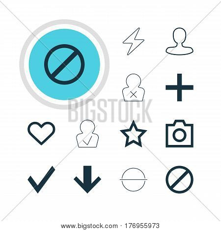 Vector Illustration Of 12 Member Icons. Editable Pack Of Confirm, Emotion, Snapshot And Other Elements.