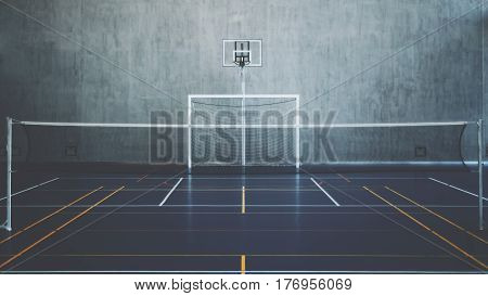 Front view of court in gymhall indoors modern contemporary office stadium with basketball basket and hoop football goal tennis court with net and colored marking concrete wall in background