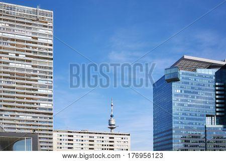 Modern Buildings In The Uno City Complex, Vienna, Austria