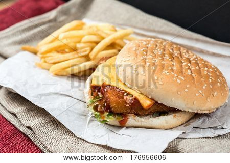 Cheese burger - American cheese chicken burger with fresh salad