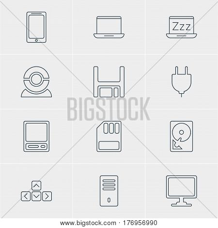 Vector Illustration Of 12 Computer Icons. Editable Pack Of Pda, Hard Drive Disk, Notebook And Other Elements.