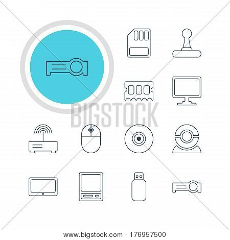 Vector Illustration Of 12 Computer Icons. Editable Pack Of Storage, Router, Memory Chip And Other Elements.