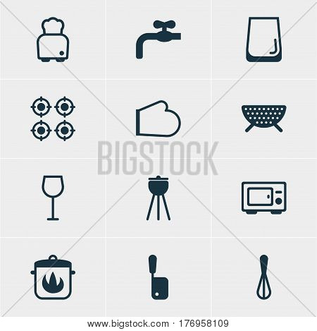 Vector Illustration Of 12 Cooking Icons. Editable Pack Of Stewpot, Butcher Knife, Barbecue And Other Elements.