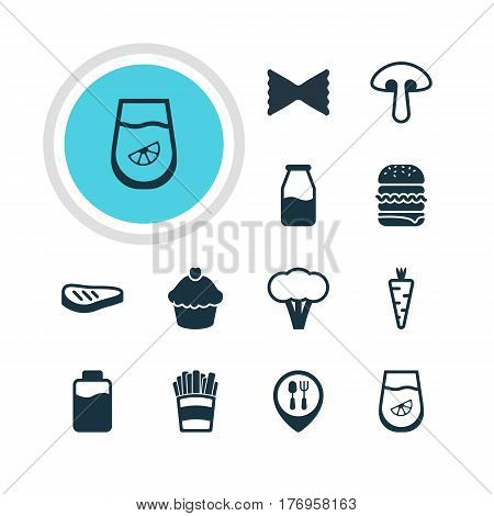 Vector Illustration Of 12 Meal Icons. Editable Pack Of Farfalle, Roast Beef, Potato And Other Elements.