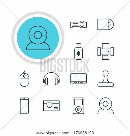Vector Illustration Of 12 Gadget Icons. Editable Pack Of Video Chat, Dvd Drive, Game Controller And Other Elements.